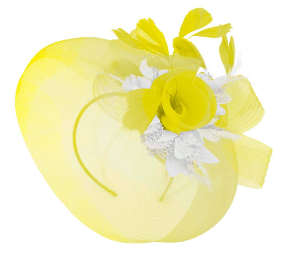 Caprilite Yellow and White on Headband Veil UK Wedding Ascot Races Hatinator