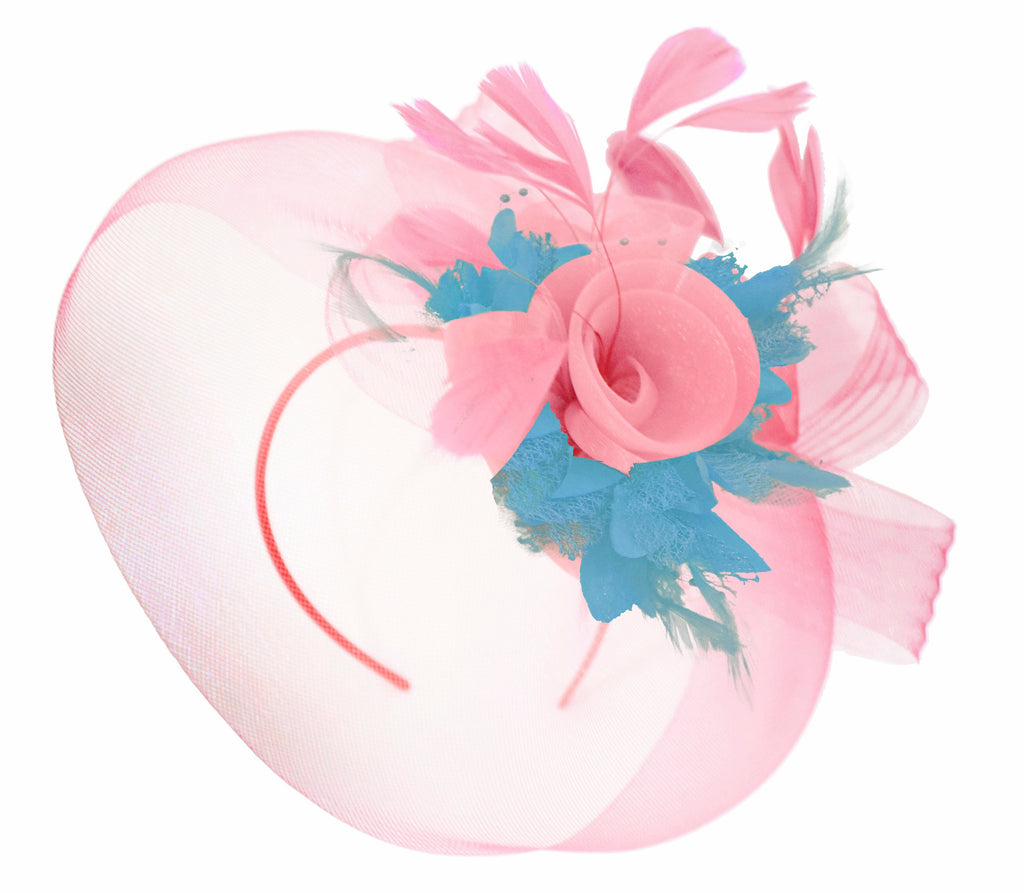 Caprilite Baby Pink and Aqua on Headband Veil UK Wedding Ascot Races Hatinator