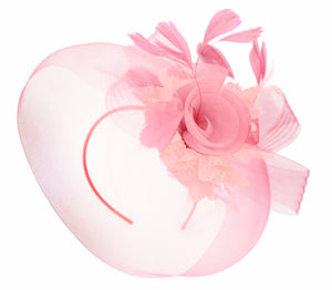 Caprilite Baby Pink on Headband Veil UK Wedding Ascot Races Hatinator