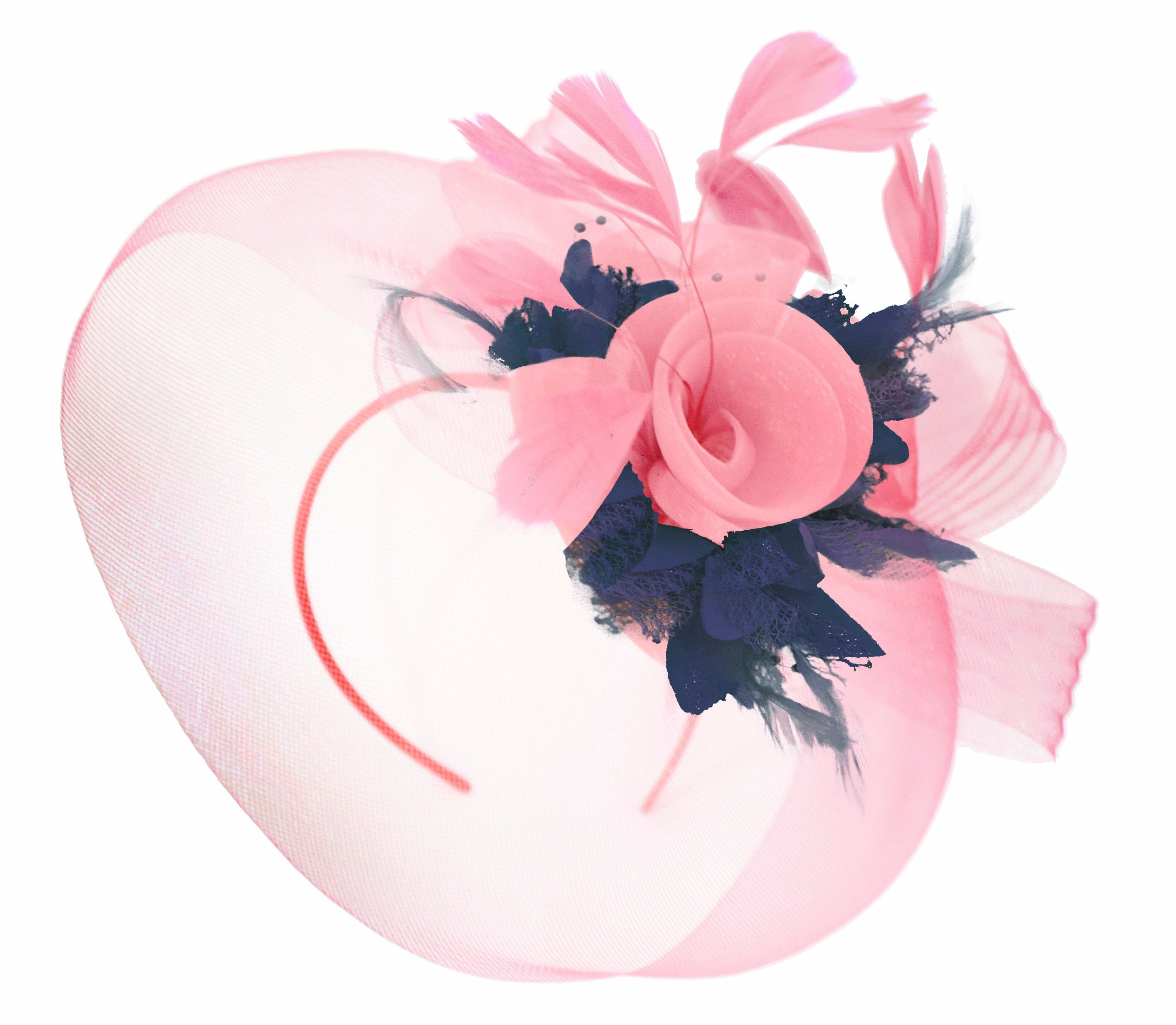 Caprilite Baby Pink and Navy on Headband Veil UK Wedding Ascot Races Hatinator