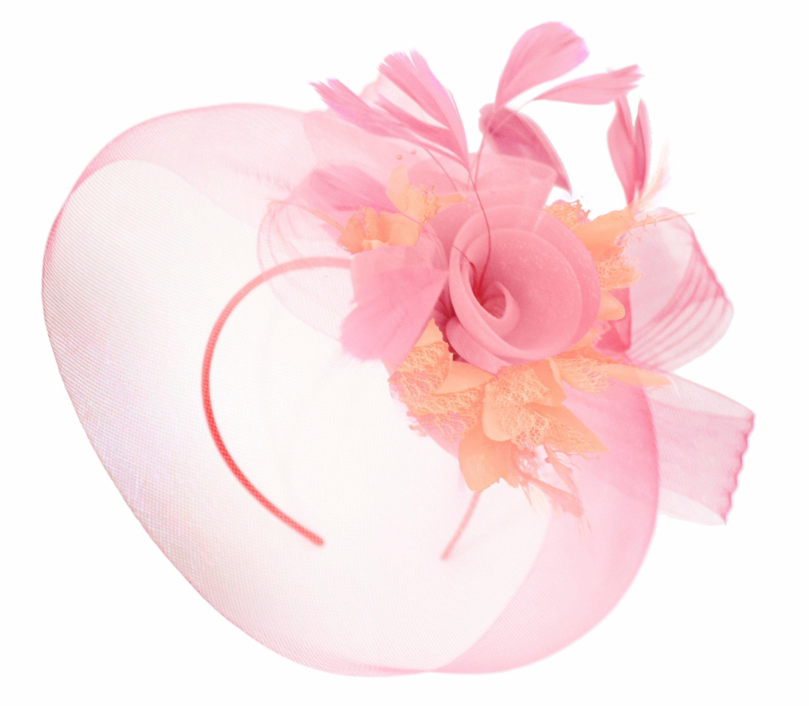 Caprilite Baby Pink and Peach on Headband Veil UK Wedding Ascot Races Hatinator