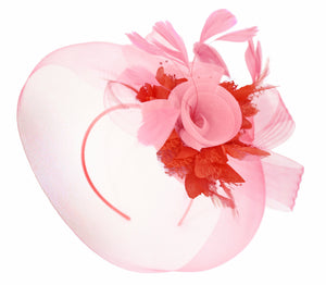 Caprilite Baby Pink and Red on Headband Veil UK Wedding Ascot Races Hatinator