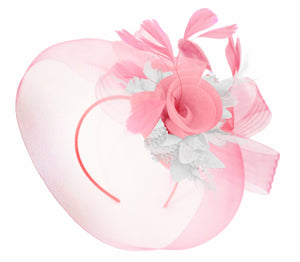 Caprilite Baby Pink and White on Headband Veil UK Wedding Ascot Races Hatinator