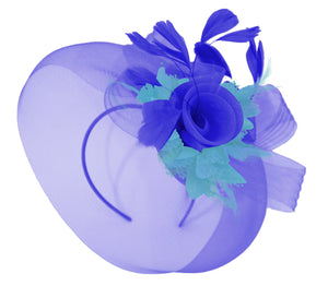 Caprilite Big Royal Blue and Aqua Fascinator Hat Veil Net Hair Clip Ascot Derby Races Wedding Headband Feather Flower