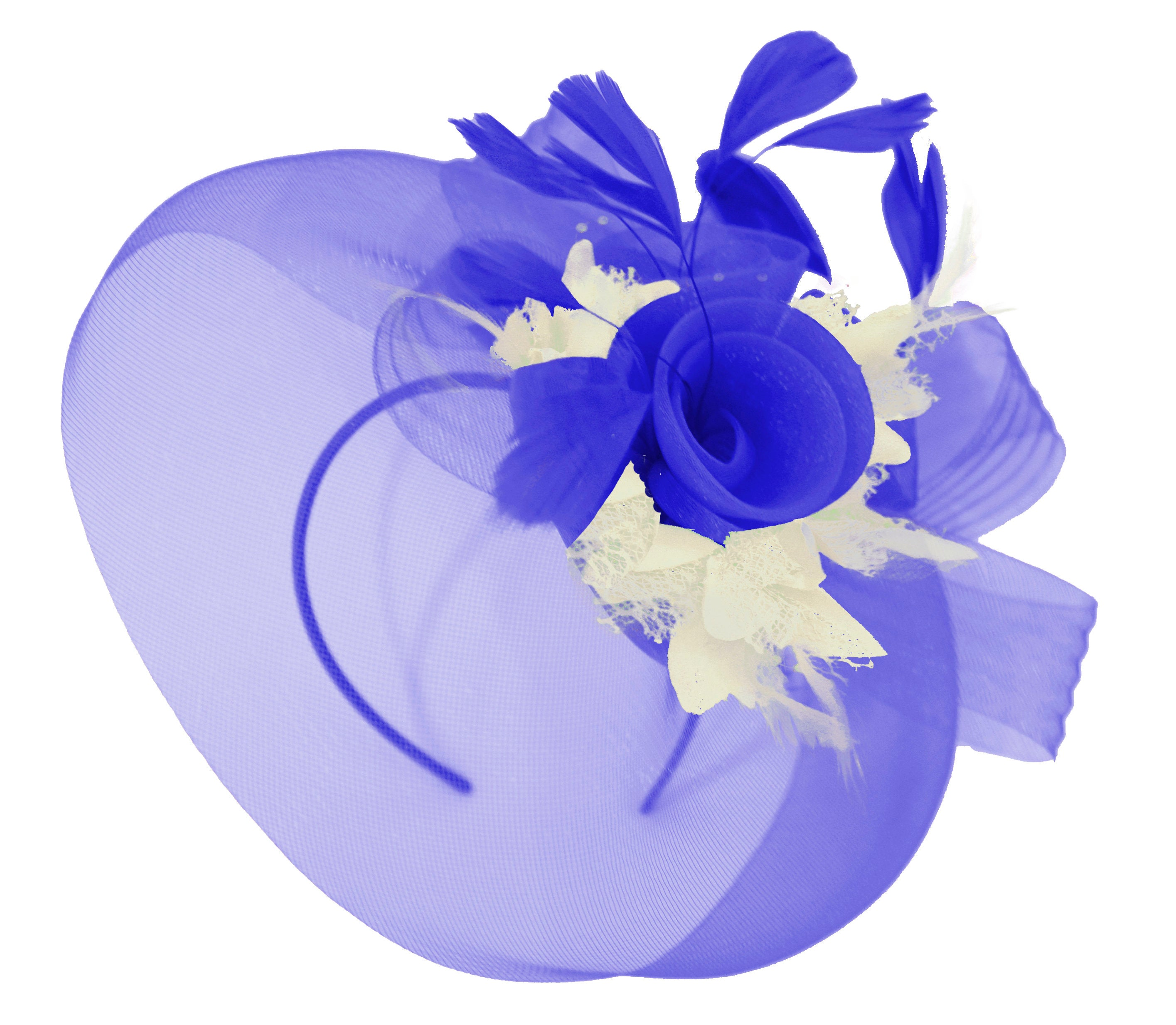 Caprilite Big Royal Blue and Cream Fascinator Hat Veil Net Hair Clip Ascot Derby Races Wedding Headband Feather Flower
