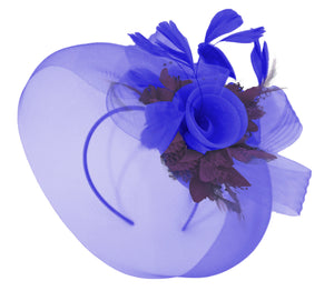 Caprilite Big Royal Blue and Dark Purple Fascinator Hat Veil Net Hair Clip Ascot Derby Races Wedding Headband Feather Flower