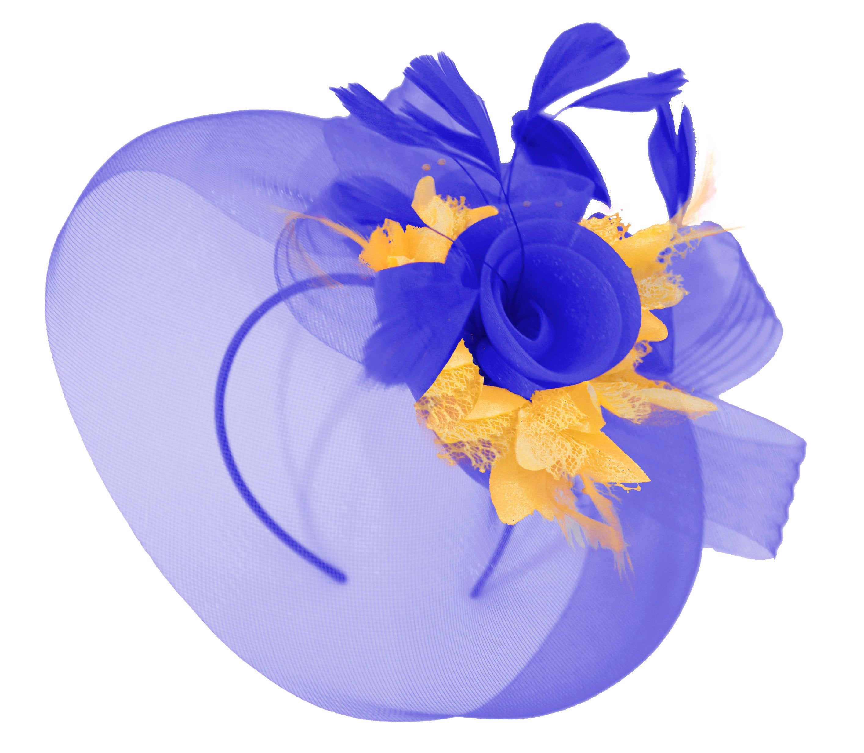 Caprilite Big Royal Blue and Gold Fascinator Hat Veil Net Hair Clip Ascot Derby Races Wedding Headband Feather Flower
