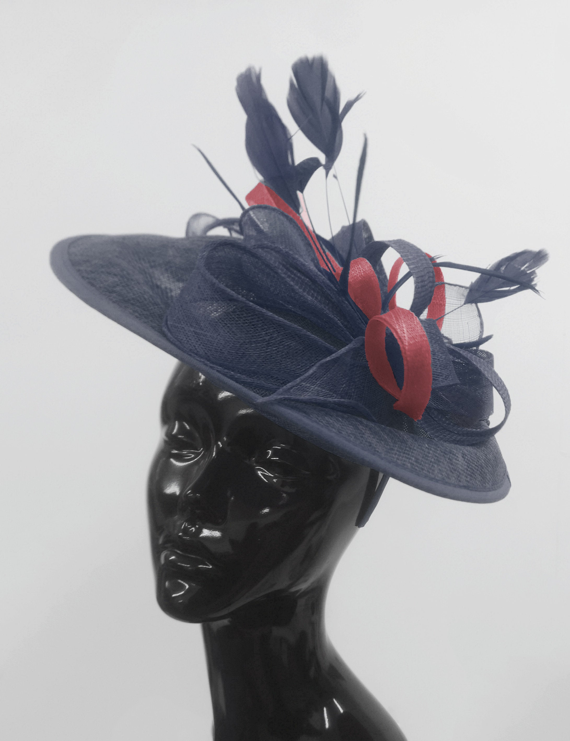 Caprilite Big Saucer Sinamay Navy Blue & Burgundy Mixed Colour Fascinator On Headband