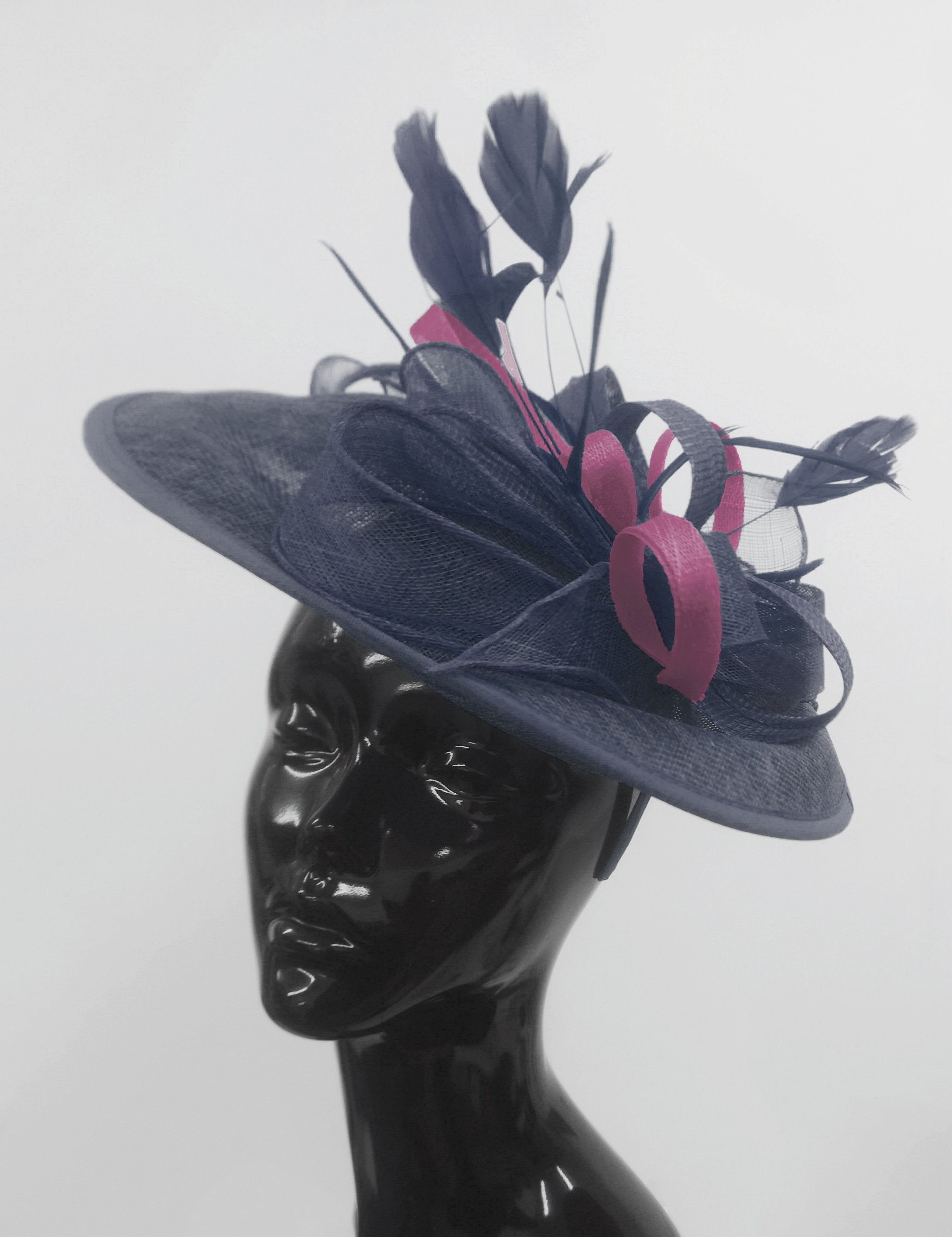 Caprilite Big Saucer Sinamay Navy Blue & Plum Mixed Colour Fascinator On Headband