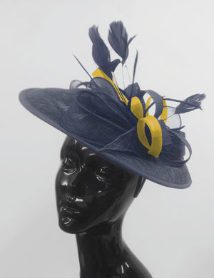 Caprilite Big Saucer Sinamay Navy Blue & Yellow Mixed Colour Fascinator On Headband