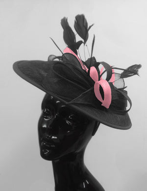 Caprilite Big Saucer Sinamay Black & Baby Pink Mixed Colour Fascinator On Headband