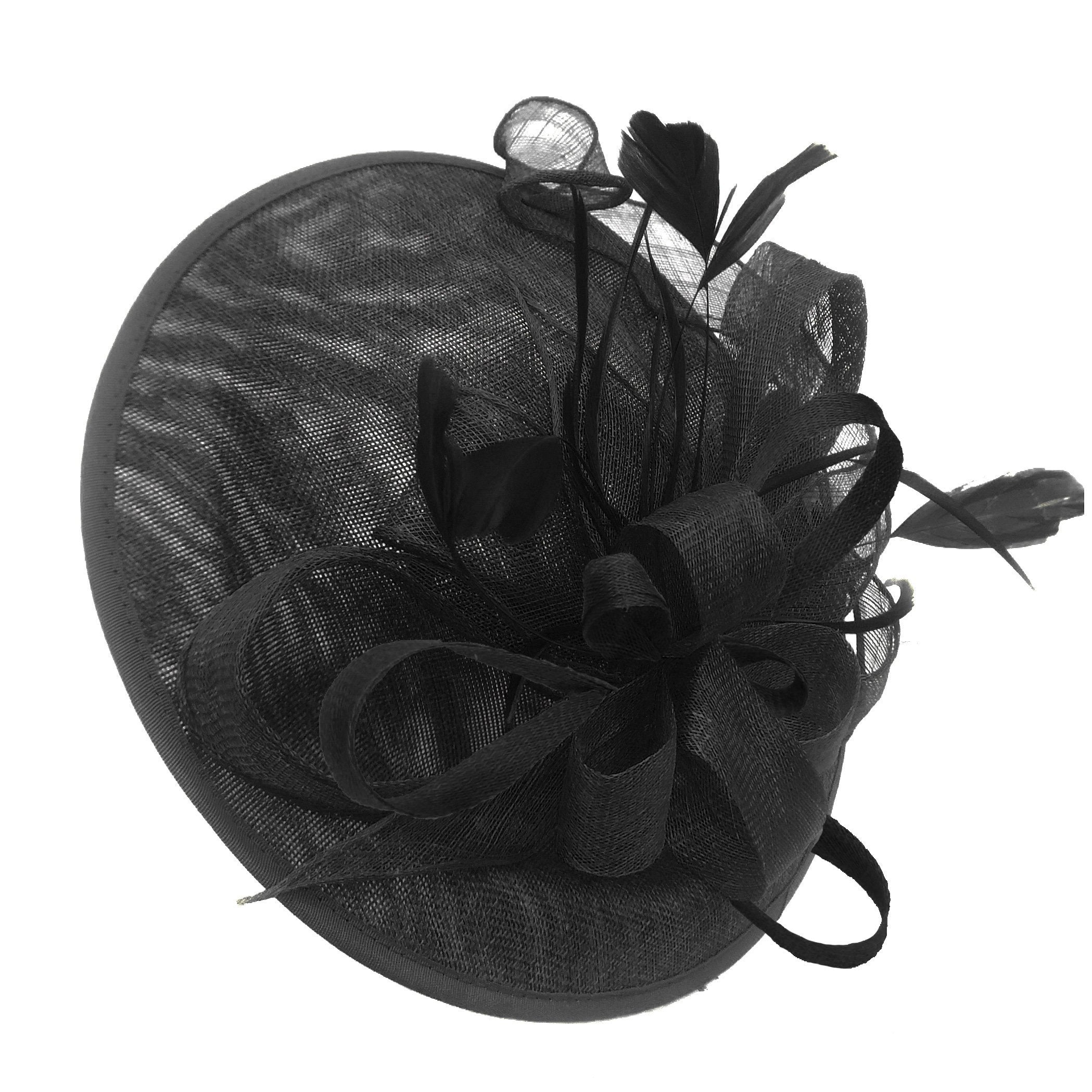 Caprilite Big Saucer Sinamay Black Mixed Colour Fascinator On Headband