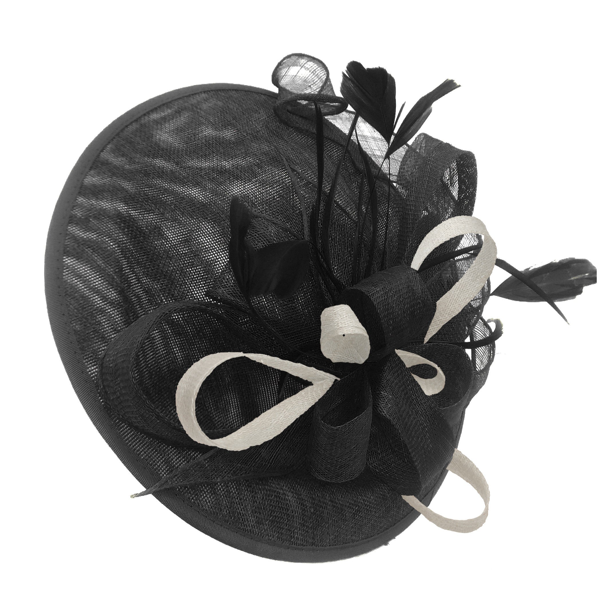 Caprilite Big Saucer Sinamay Black & Cream Ivory Mixed Colour Fascinator On Headband