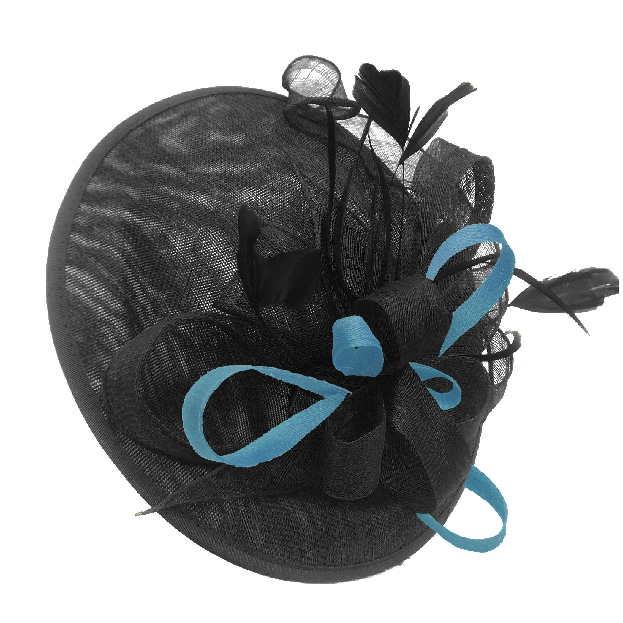 Caprilite Big Saucer Sinamay Black & Light Blue Mixed Colour Fascinator On Headband