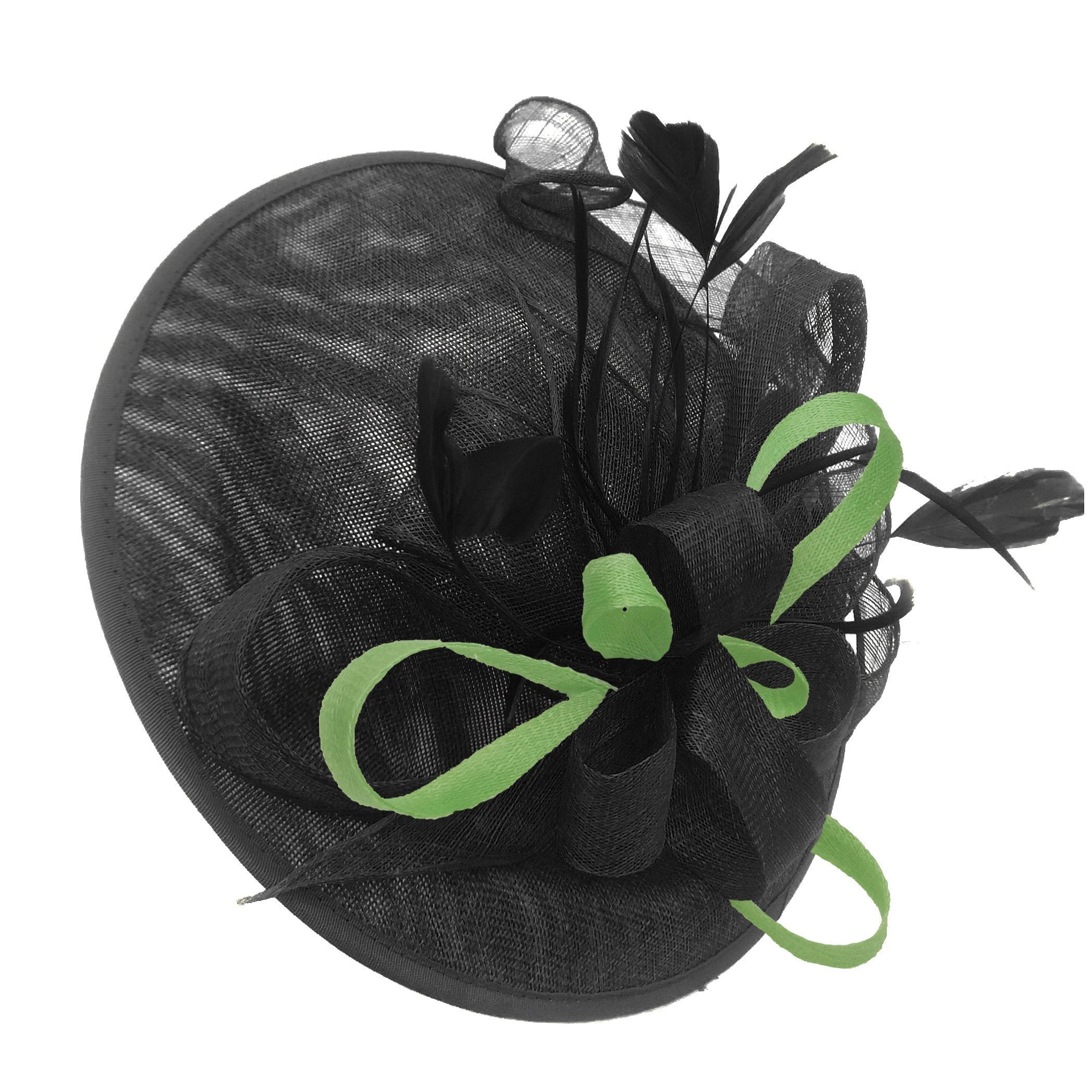 Caprilite Big Saucer Sinamay Black & Lime Green Mixed Colour Fascinator On Headband