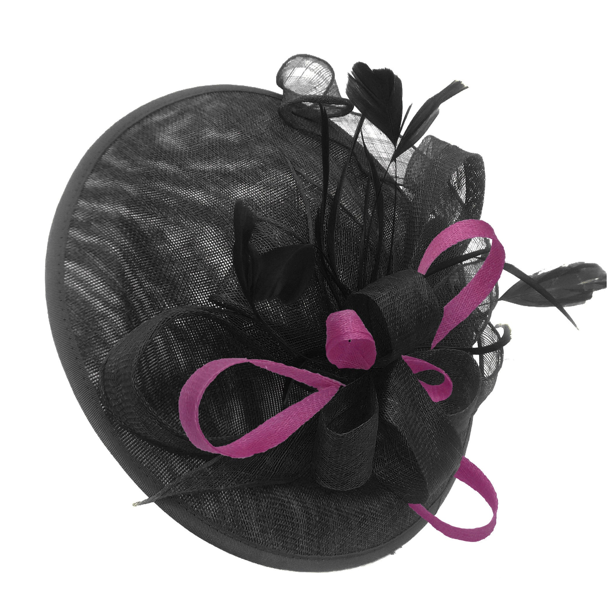 Caprilite Big Saucer Sinamay Black & Plum Mixed Colour Fascinator On Headband