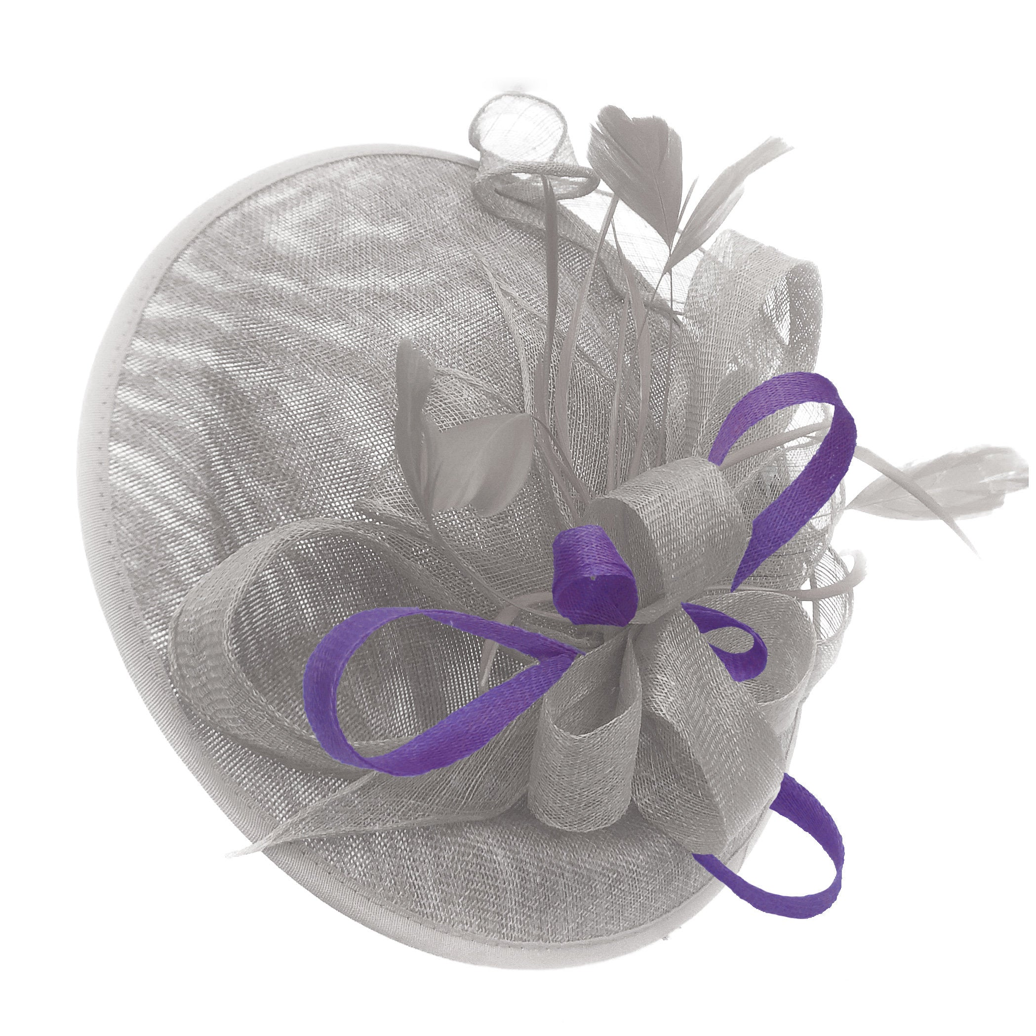 Caprilite Big Saucer Sinamay Silver Grey & Lavender Purple Mixed Colour Fascinator On Headband