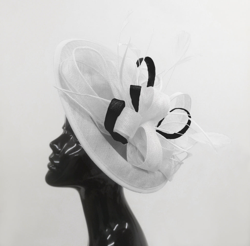 Caprilite Big Saucer Sinamay White & Black Mixed Colour Fascinator On Headband