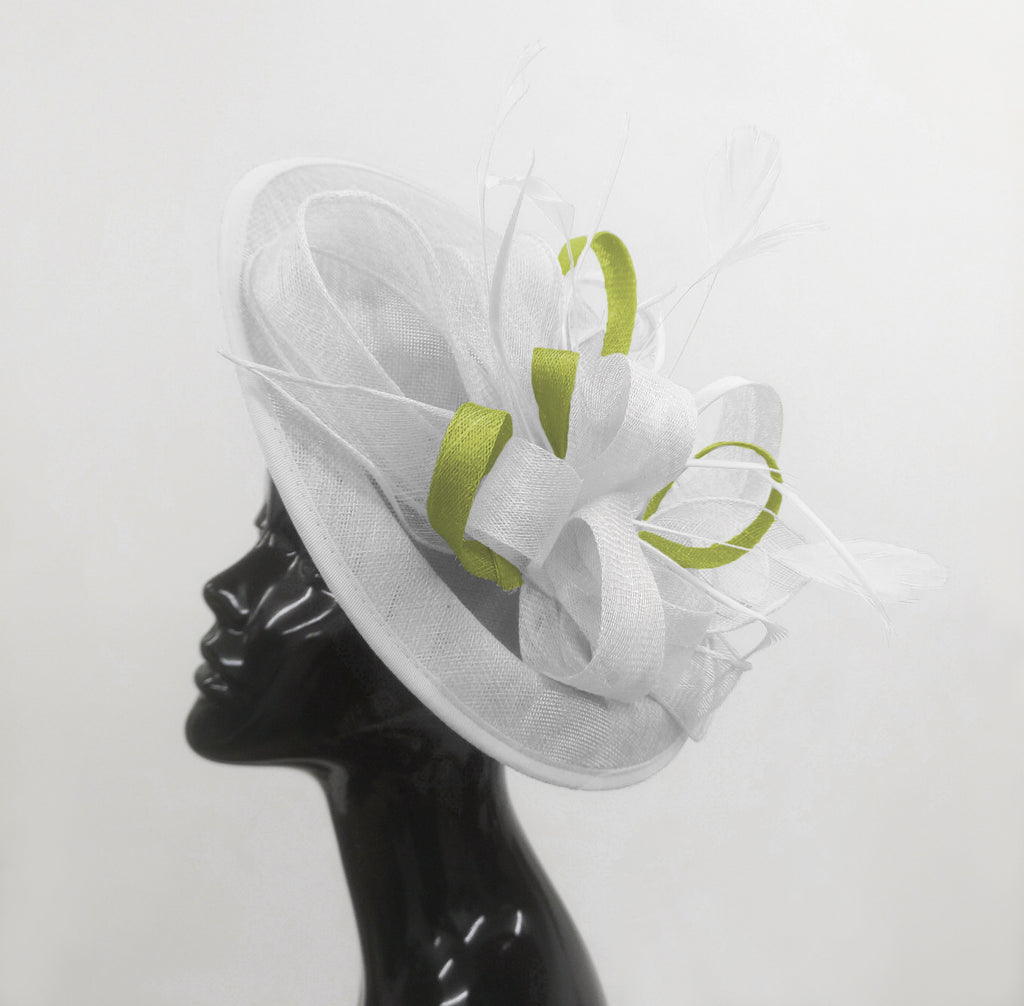 Caprilite Big Saucer Sinamay White & Lime Green Mixed Colour Fascinator On Headband
