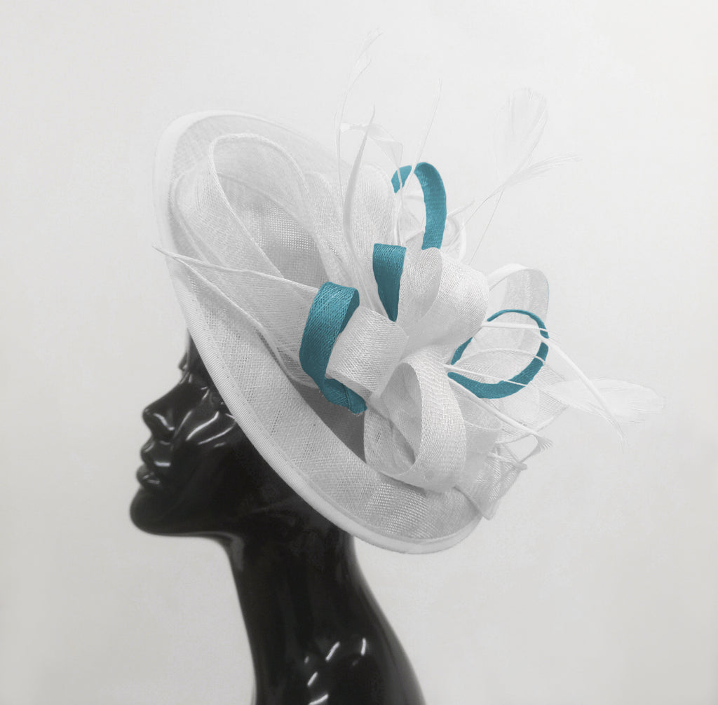 Caprilite Big Saucer Sinamay White & Light Blue Mixed Colour Fascinator On Headband