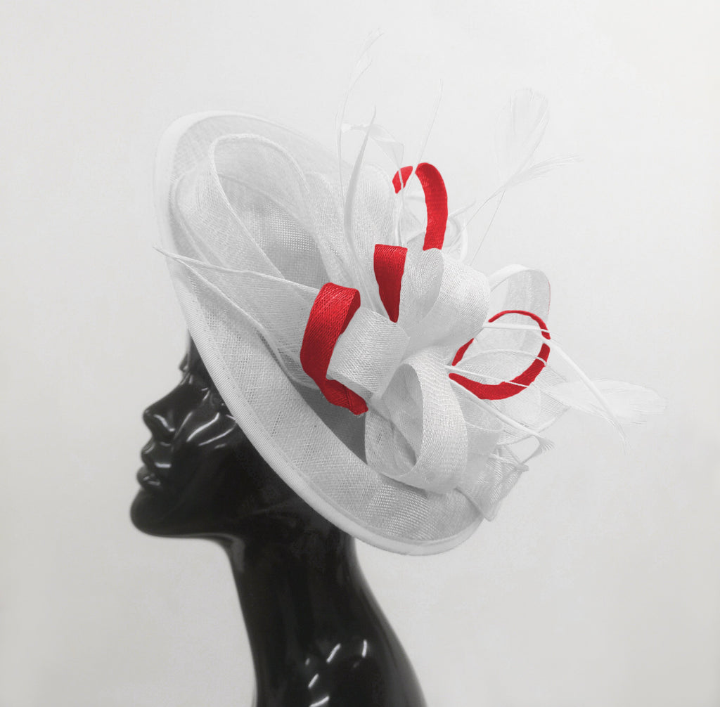 Caprilite Big Saucer Sinamay White & Red Mixed Colour Fascinator On Headband
