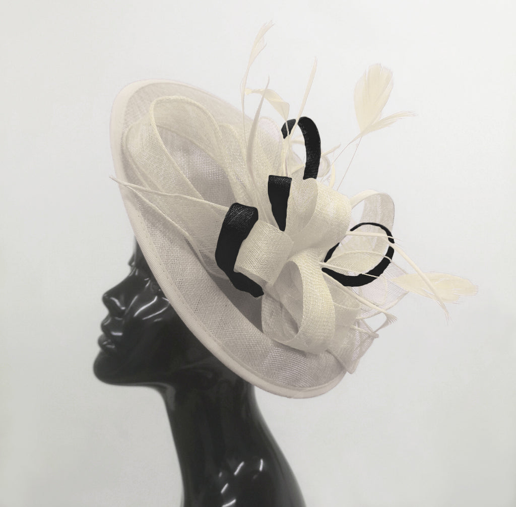 Caprilite Big Saucer Sinamay Cream Ivory & Black Mixed Colour Fascinator On Headband