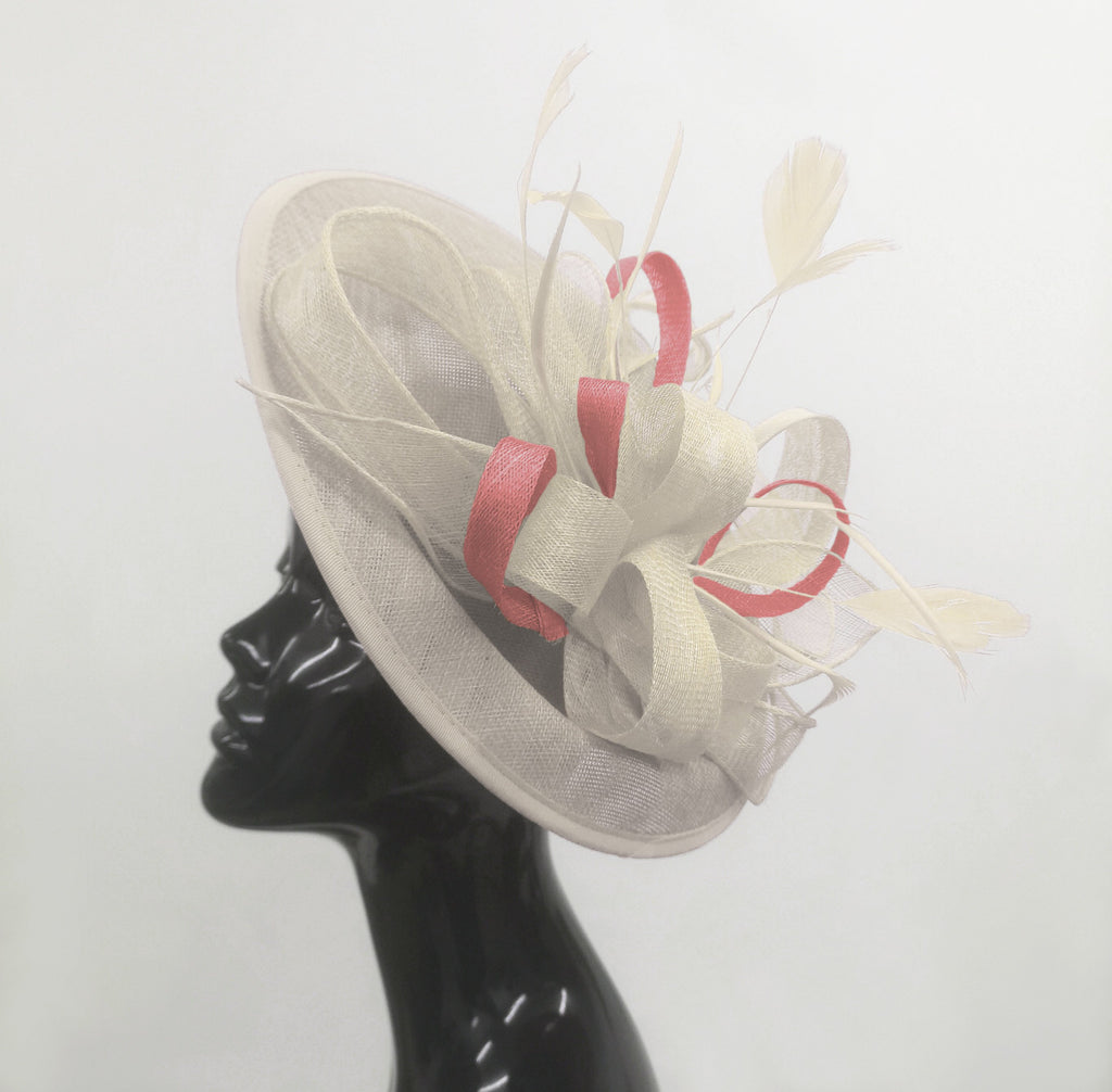 Caprilite Big Saucer Sinamay Cream Ivory & Dusty Pink Mixed Colour Fascinator On Headband