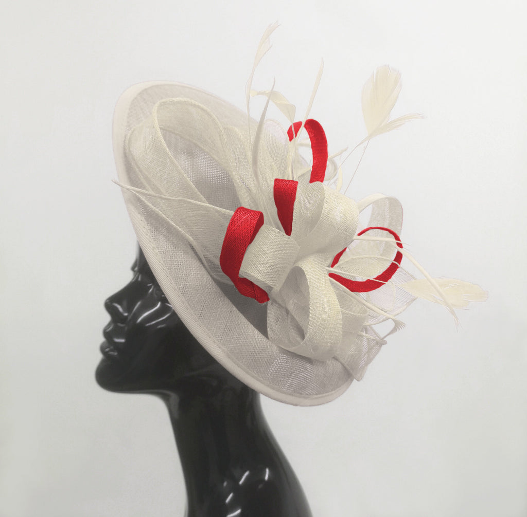 Caprilite Big Saucer Sinamay Cream ivory & Red Mixed Colour Fascinator On Headband