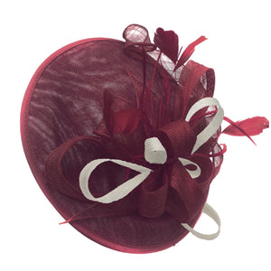 Caprilite Big Saucer Sinamay Burgundy & Cream Ivory Mixed Colour Fascinator On Headband