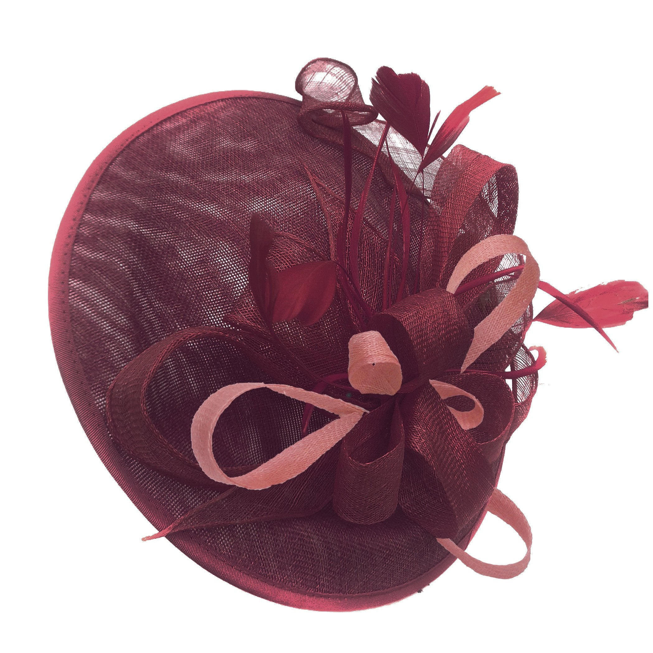 Caprilite Big Saucer Sinamay Burgundy & Dusty Pink Mixed Colour Fascinator On Headband