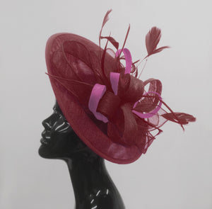 Caprilite Big Saucer Sinamay Burgundy & Plum Mixed Colour Fascinator On Headband
