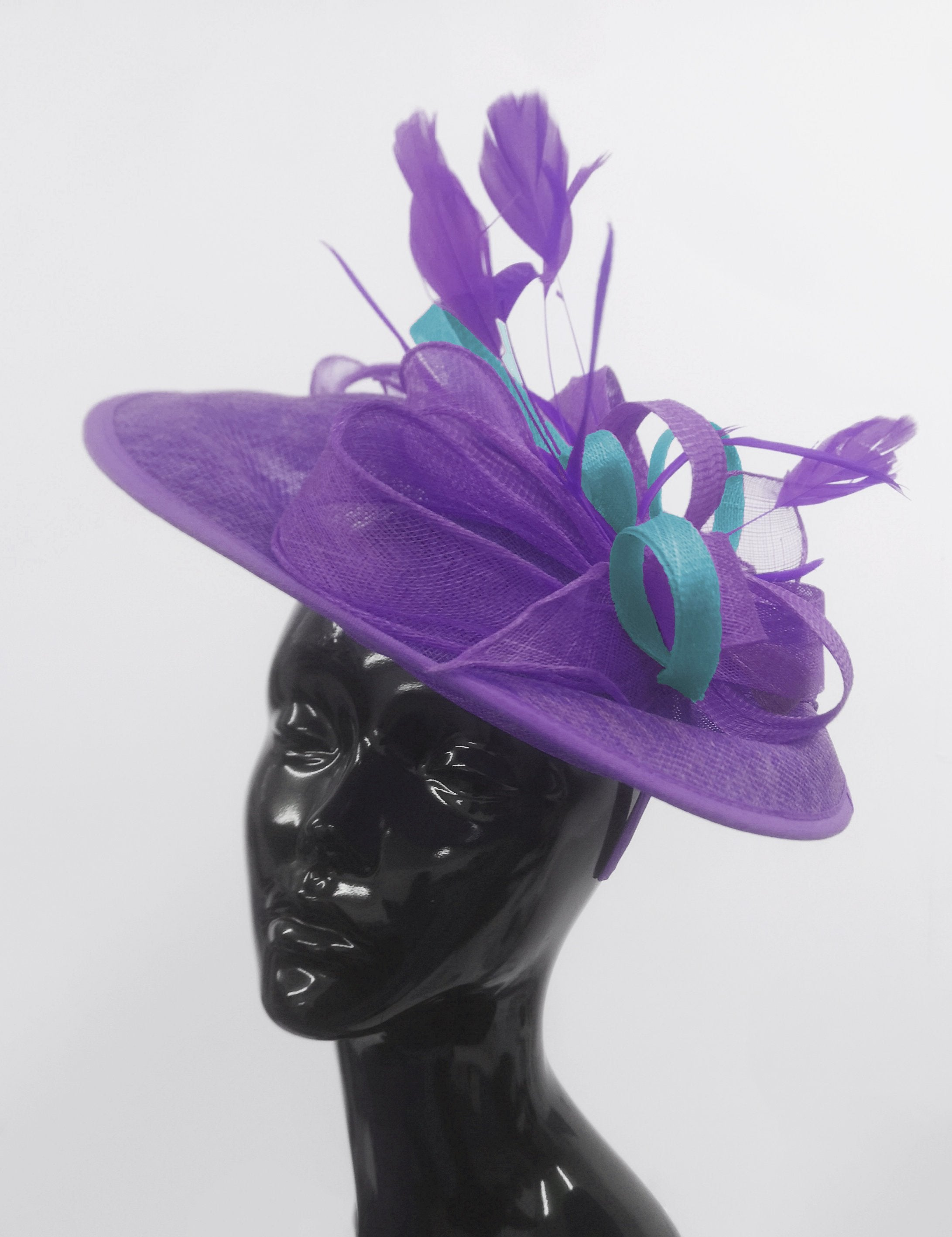 Caprilite Big Saucer Sinamay Lavender Purple & Light Blue Mixed Colour Fascinator On Headband