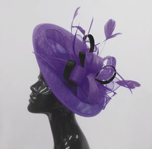 Caprilite Big Saucer Sinamay Lavender Purple & Black Mixed Colour Fascinator On Headband