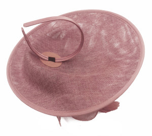 Caprilite Big Saucer Sinamay Dusty Pink & Cream Ivory Mixed Colour Fascinator On Headband
