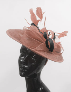 Caprilite Big Saucer Sinamay Dusty Pink & Black Mixed Colour Fascinator On Headband