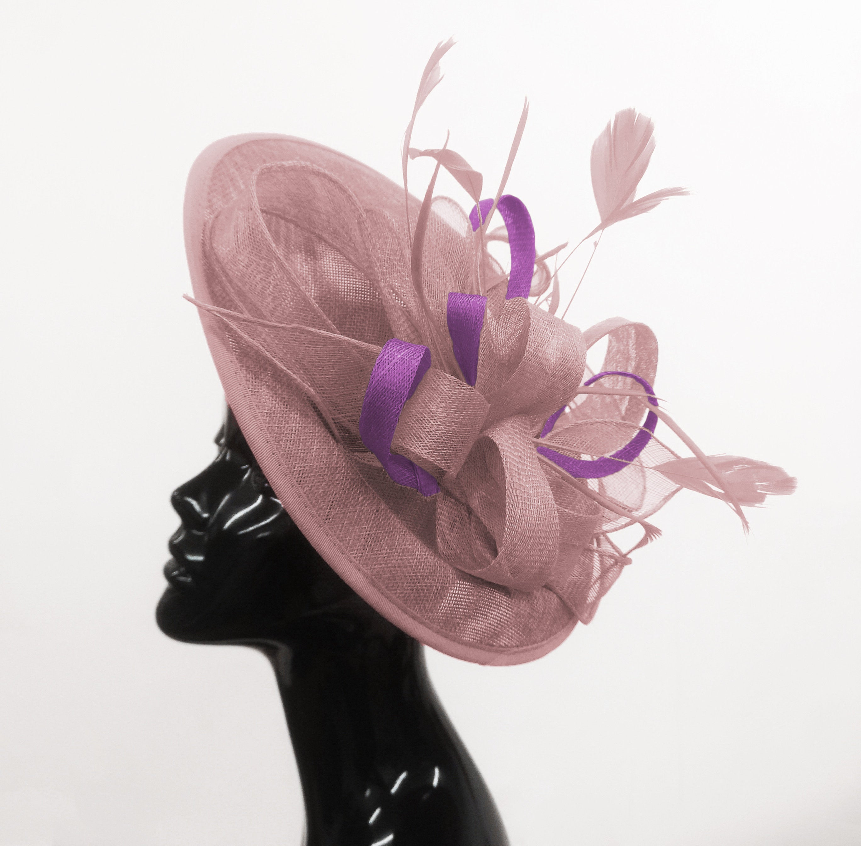 Caprilite Big Saucer Sinamay Dusty Pink & Cadbury Purple Mixed Colour Fascinator On Headband