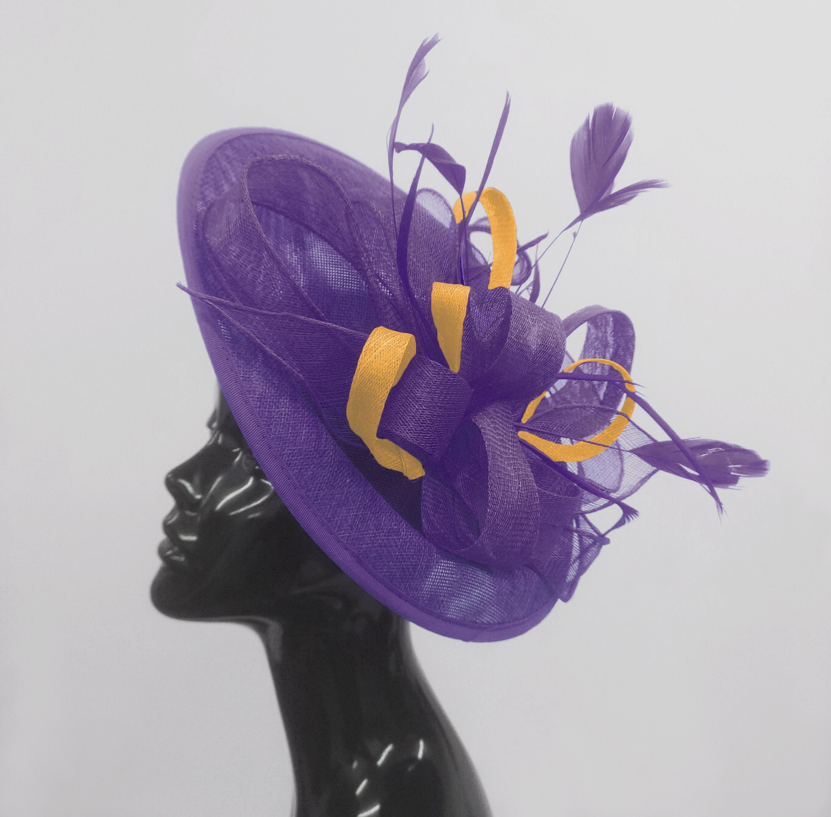 Caprilite Big Saucer Sinamay Lavender Purple & Gold Mixed Colour Fascinator On Headband