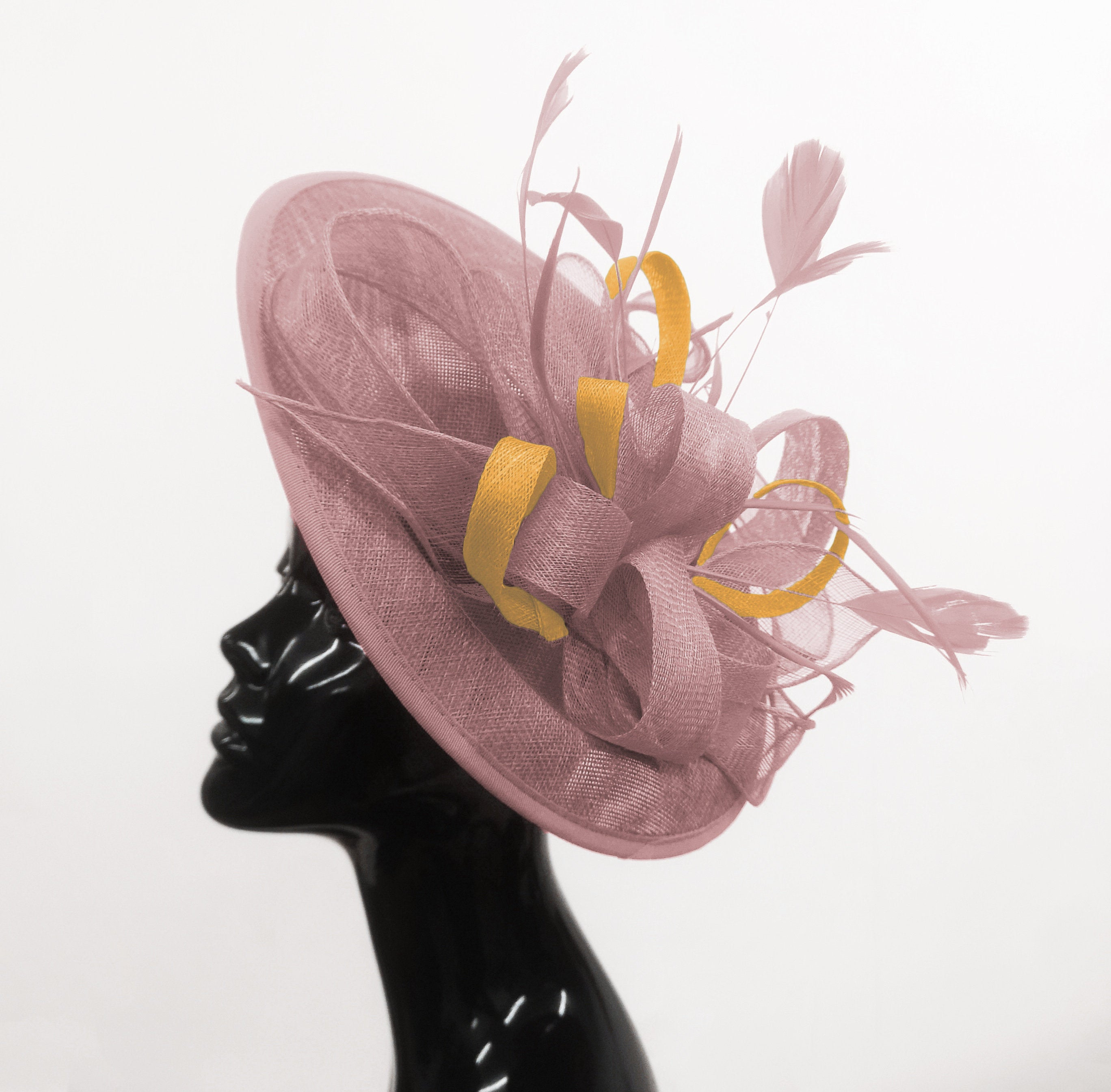 Caprilite Big Saucer Sinamay Dusty Pink & Gold Mixed Colour Fascinator On Headband