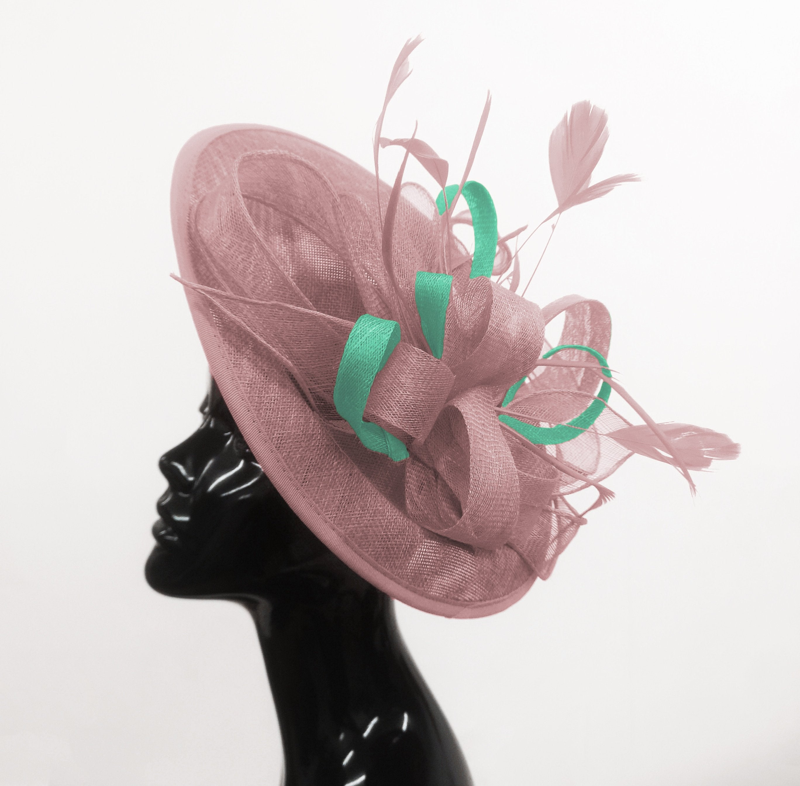 Caprilite Big Saucer Sinamay Dusty Pink & Light Turquoise Mixed Colour Fascinator On Headband