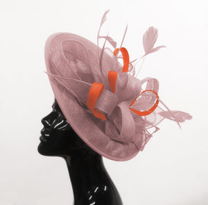 Caprilite Big Saucer Sinamay Dusty Pink & Orange Mixed Colour Fascinator On Headband