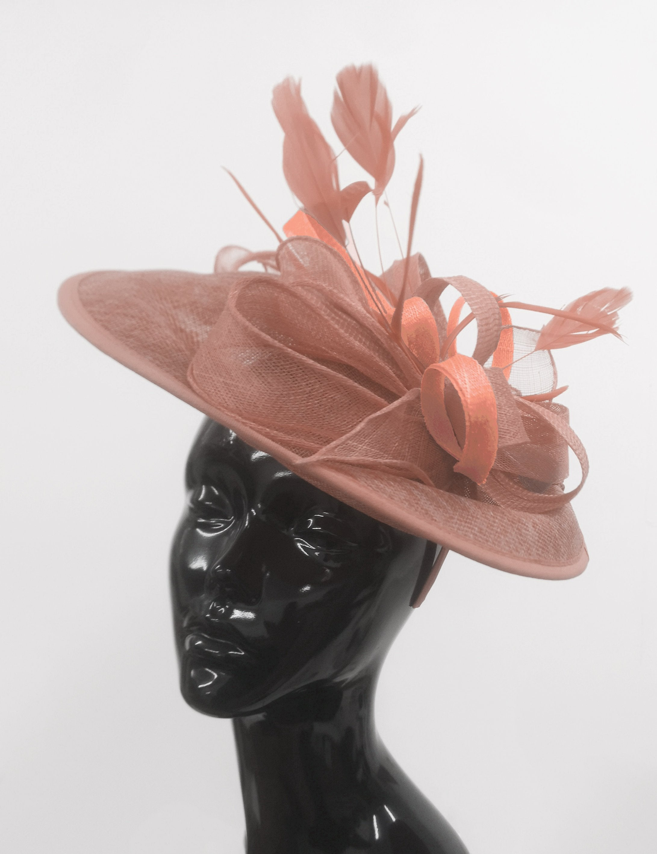 Caprilite Big Saucer Sinamay Dusty Pink & Peach Mixed Colour Fascinator On Headband