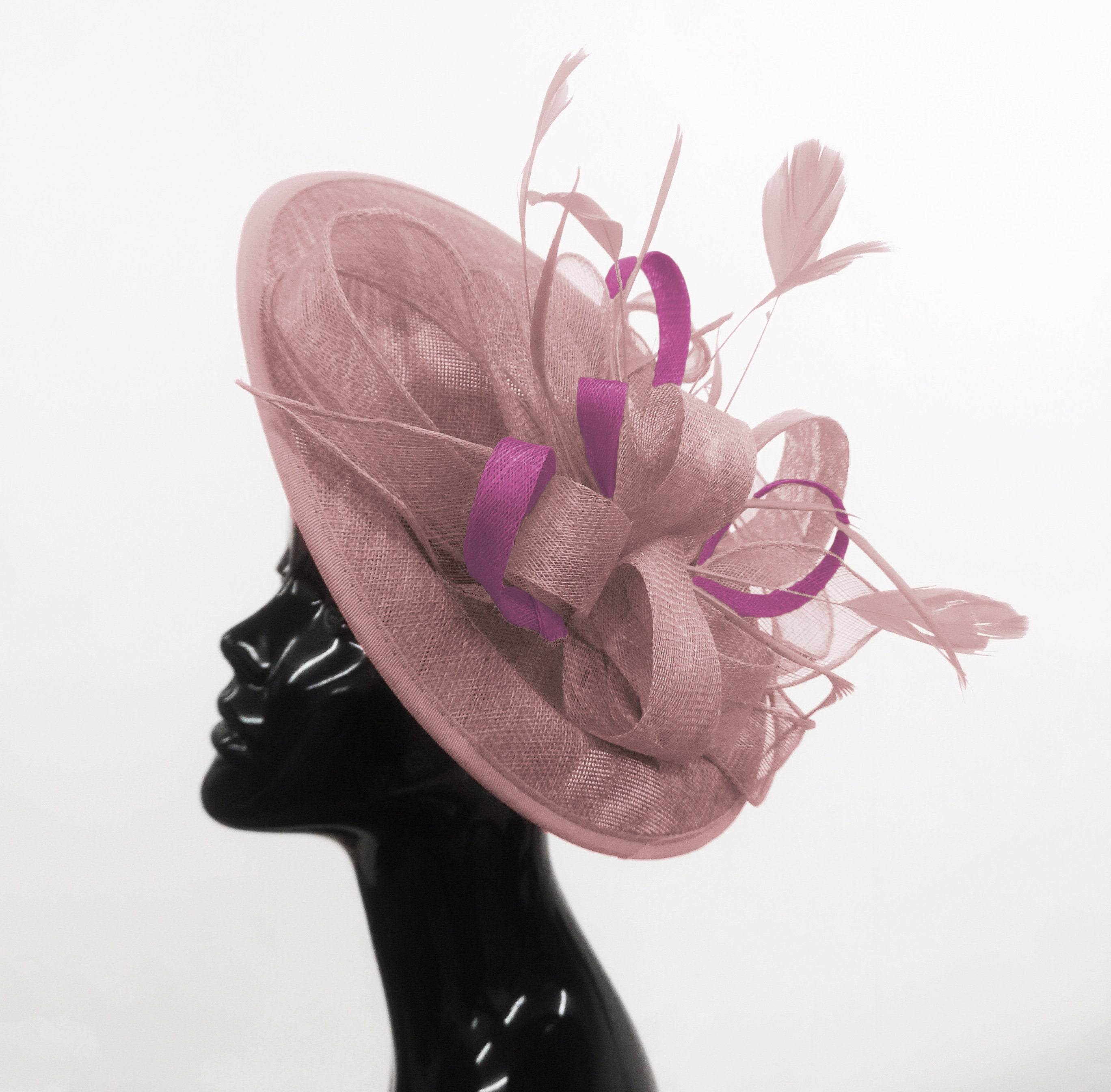 Caprilite Big Saucer Sinamay Dusty Pink & Plum Mixed Colour Fascinator On Headband