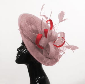 Caprilite Big Saucer Sinamay Dusty Pink & Red Mixed Colour Fascinator On Headband