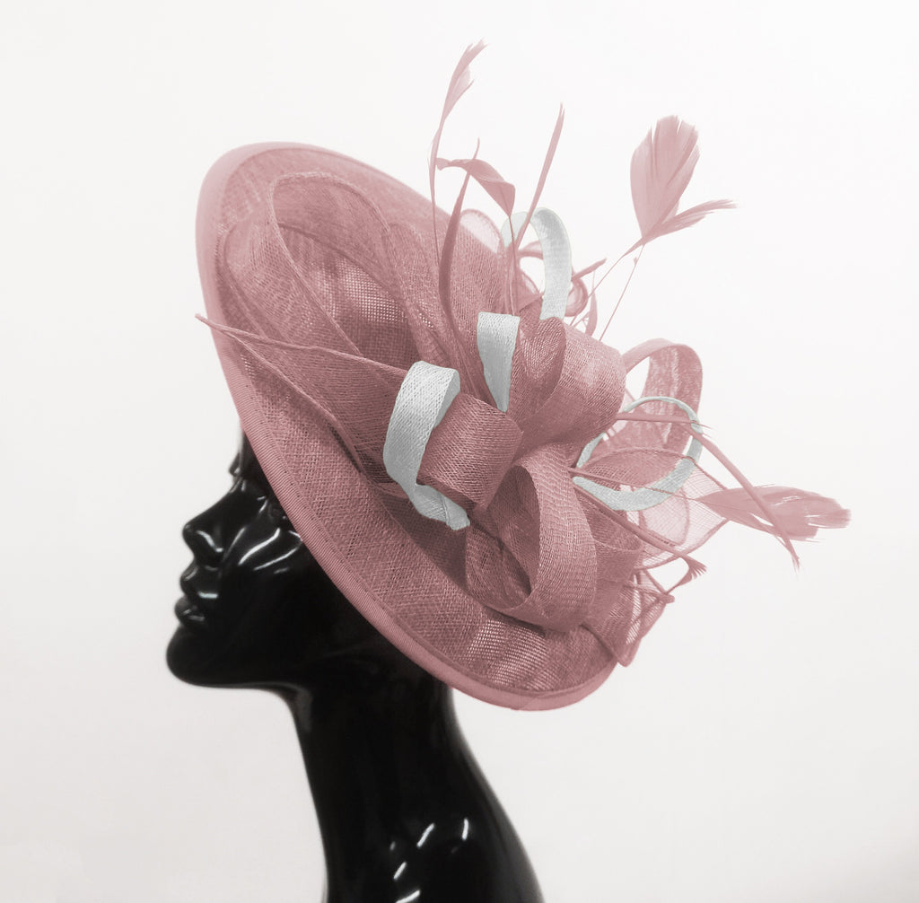 Caprilite Big Saucer Sinamay Dusty Pink & White Mixed Colour Fascinator On Headband