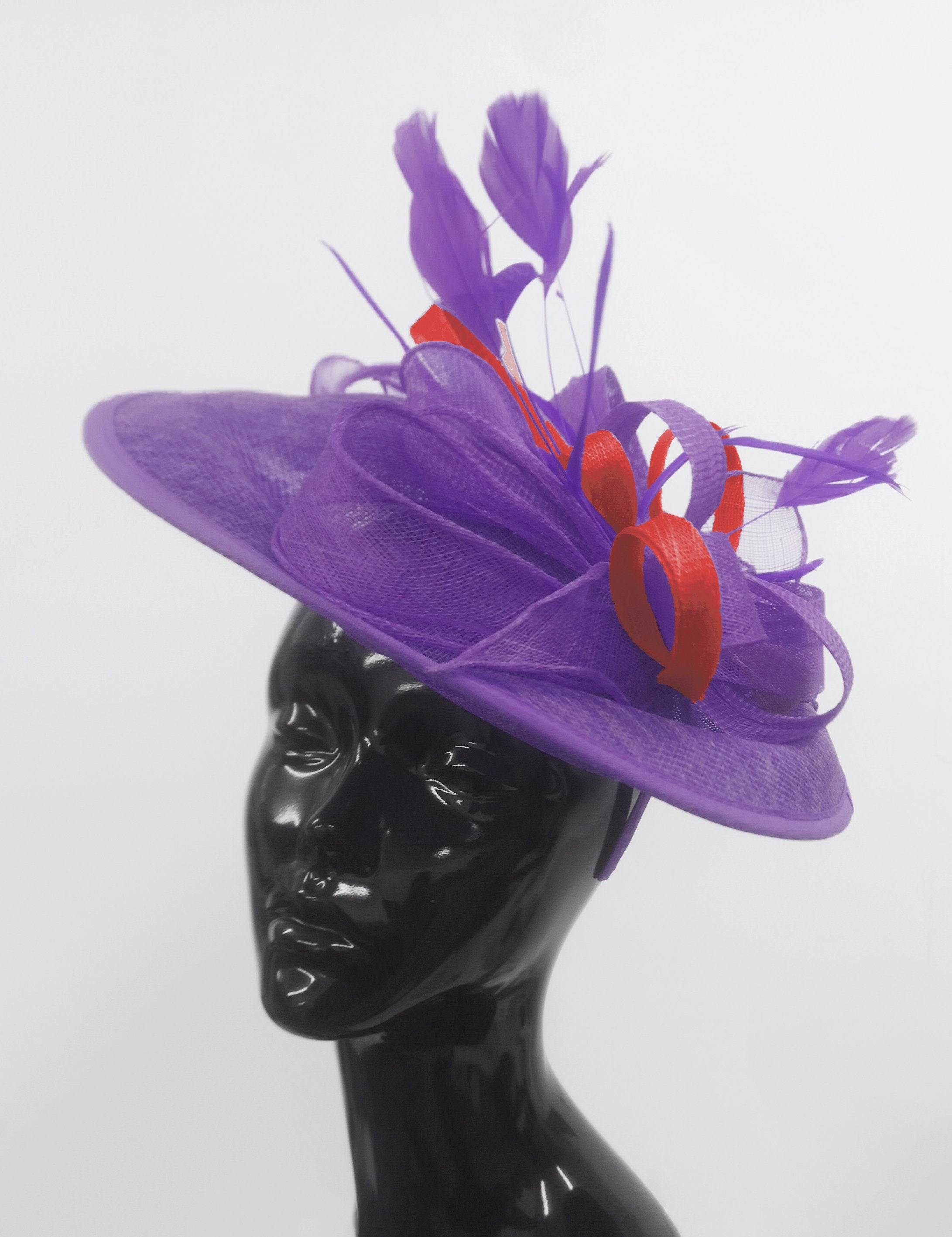 Caprilite Big Saucer Sinamay Lavender Purple & Red Mixed Colour Fascinator On Headband