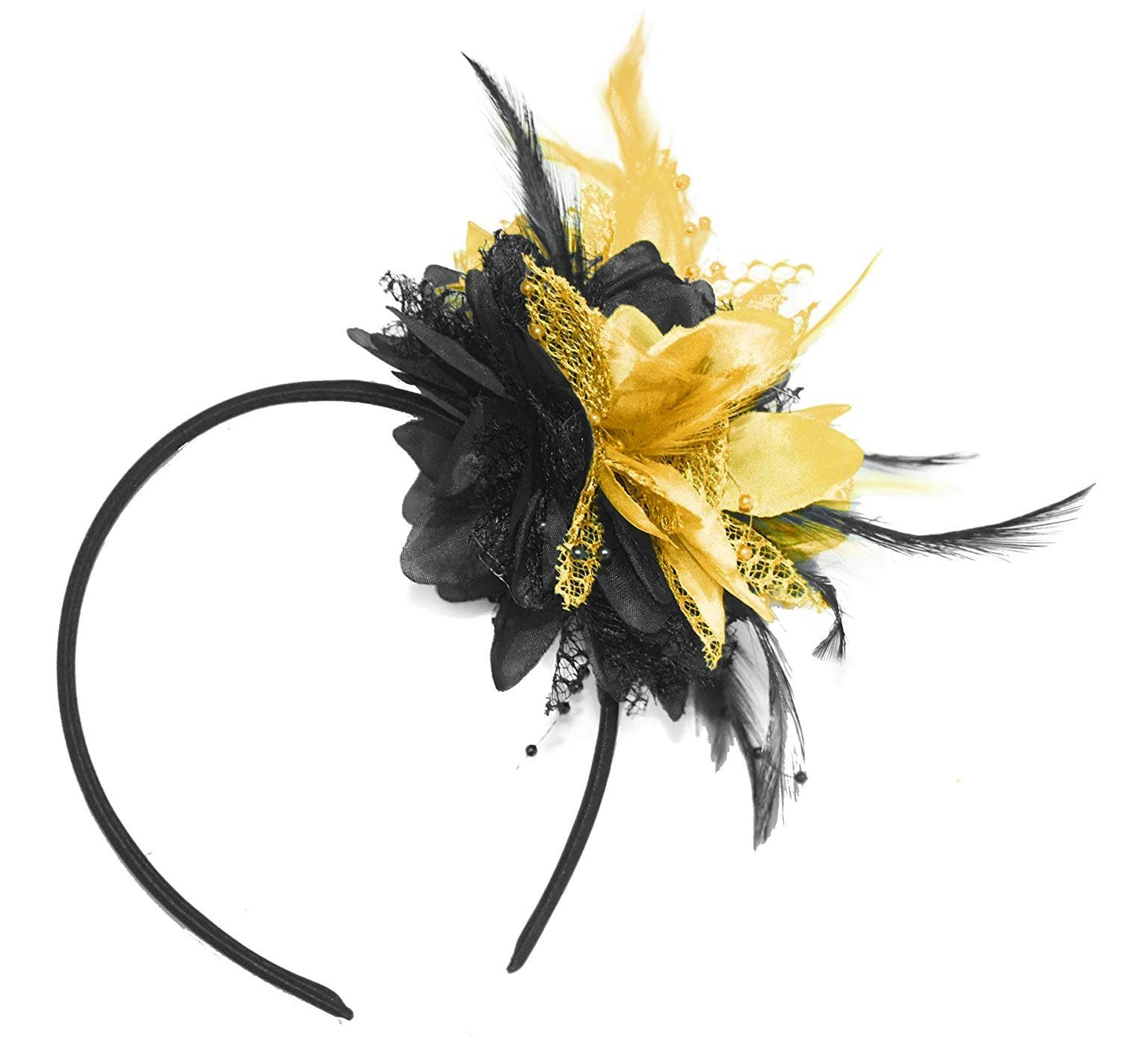 Caprilite Black and Gold Fascinator Black Headband Flower Corsage