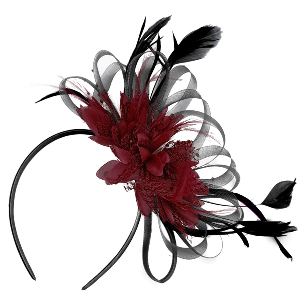 Caprilite Black and Burgundy Dark Wine Red Fascinator on Headband  Alice Band Wedding Ascot Races  Loop Net