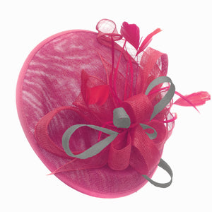 Caprilite Big Saucer Sinamay Fuchsia Hot Pink & Silver Grey Mixed Colour Fascinator On Headband