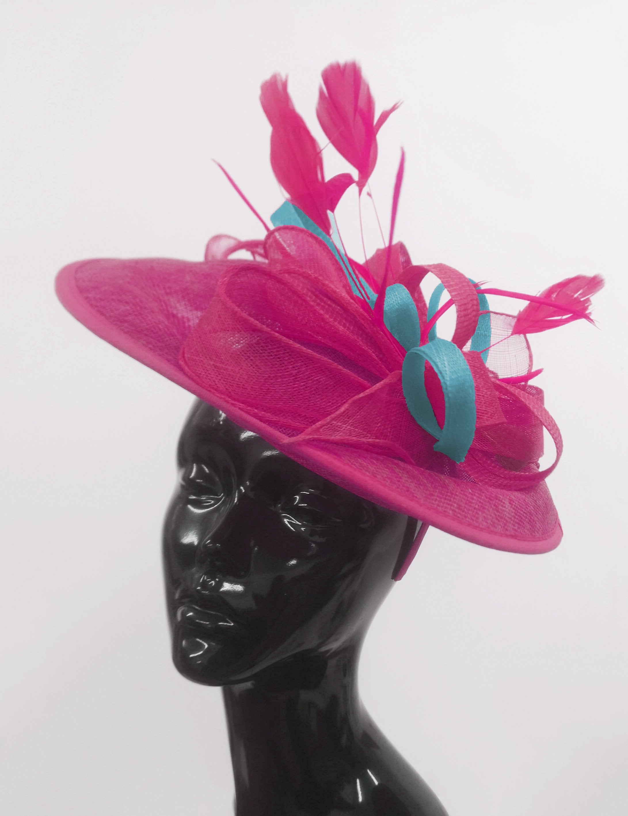 Caprilite Big Saucer Sinamay Fuchsia Hot Pink & Light Blue Mixed Colour Fascinator On Headband