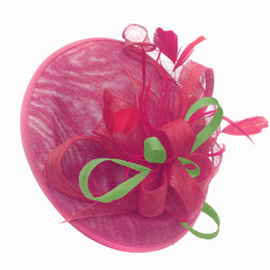 Caprilite Big Saucer Sinamay Fuchsia Hot Pink & Lime Green Mixed Colour Fascinator On Headband